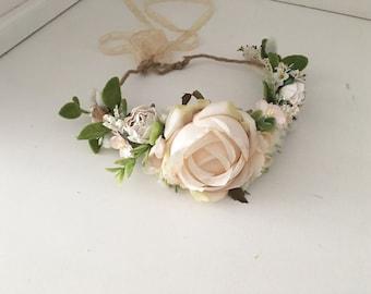 Neutral flower crown- Ivory Flower crown- Flower Girl Flower Crown- Floral Crown- Well dressed wolf- Dollcake