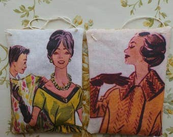 1950's Parisian fashion illustrations hand printed and made into lavender pillows.