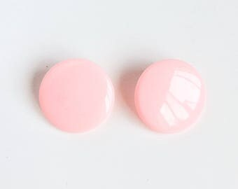 Vintage mod round earrings -pastel pink-kawaii post earrings- retro funky rock earrings-60's 70's 80's 90's-kitschy earrings-love factory ny