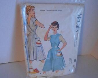 McCall's 1948 wrap dress apron size medium 14-16