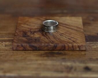 Handmade Silver Hammered Spinning Ring