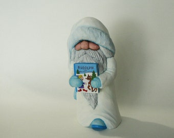Santa Wood Carving Blue and White Santa Figure Collectible Father Christmas Wood Sculpture Decoration