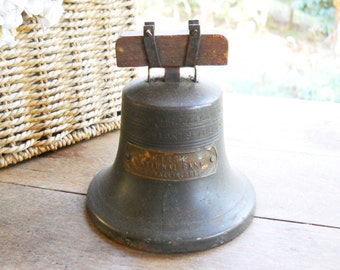 Antique 1919 Iron Bronze Brass Vintage Advertising Liberty Bell Coin Piggy Savings Bank First National Bank Corvallis Oregon Rustic Office