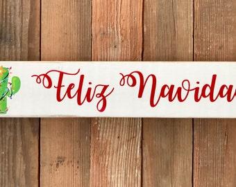 "Feliz Navidad Sign-Merry Christmas-Christmas Cactus-Cactus-3.5x18"""