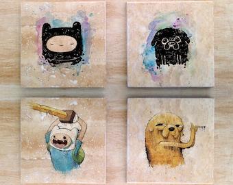 "Adventure Time ""Solidarity Time"" Stone Coasters (set of 4) - Vintage Retro Cartoon Finn and Jake Cartoon Network"