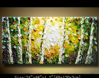contemporary wall art, ABSTRACT PAINTINGS colorful tree painting wall decor , Home Decor,Textured Modern Palette Knife Painting Chen 0327