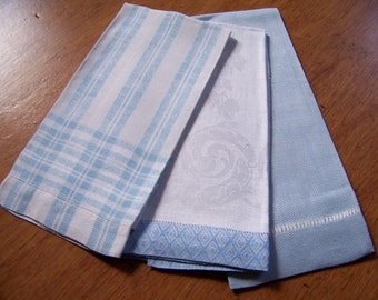 Set of 3  Vintage Linen Hand Towels  with Blue