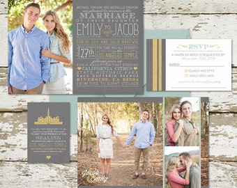 Custom Typography Photo Invitations with unique text typography and fun photo arrangement, choose any colors, LDS weddings, wedding paper