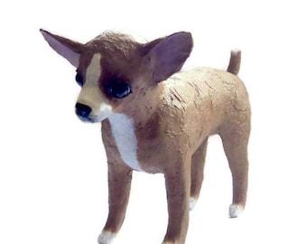 Paper mache Art Dog sculpture Chihuahua figurine