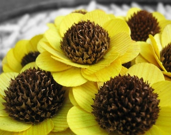 Wooden Flowers - 24 Pcs Yellow Brown-Eyed Susan-  Floral Supplies - Wedding Flowers