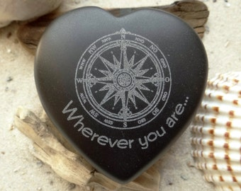 Heart charm engraved compass rose basalt - heart - lucky charm - compass rose - engraving - love - Wherever you are...