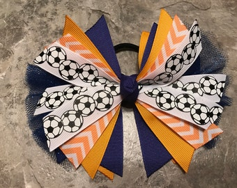 Soccer Bow - Soccer Ponytail - Soccer Hairbow - soccer ribbon - soccer hair tie - Blue and Yellow Soccer Hair Bow - team - streamer - gold