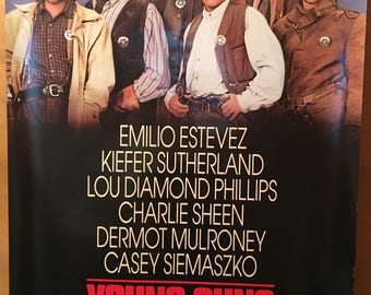Movie poster, Young Guns with Kiefer Sutherland.