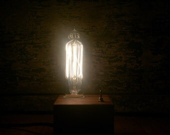 Edison Lamp Walnut Cube