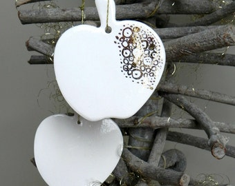 White Gold Christmas Ornaments Apple Ceramic Luxury Winter Porcelain Home Decoration Wedding Gift Set of 2
