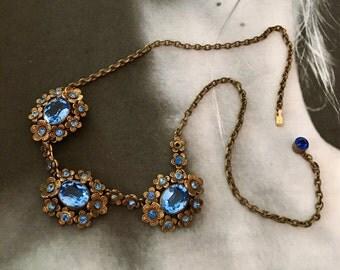 Vintage Bridal Necklace 1920's Czech Art Deco Sapphire Blue Bohemian Filigree