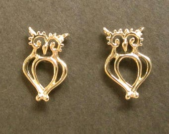 Solid Gold Owl studs, 14k post earrings recycled solid gold handmade in USA