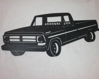 1970 Vintage FORD F100 Pickup Truck, Custom Metal Wall Art