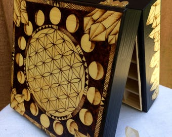 Essential Oil Box ~ Woodburned  ~ Flower of Life Sacred Geometry Quartz Crystals Moon Phases ~ Made to Order