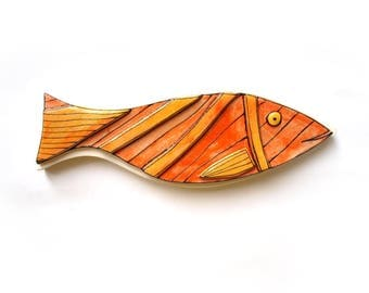 3D ceramic fish, Fish decor, Wall hanging pottery fish, Ceramic fish, Orange fish, Red Fish, Art fish , Beach house decor, Wall art fish