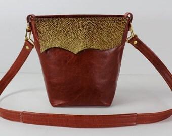 Orange Hobo Shoulder Leather Bag, Gold Embossed Leather Bag, Bags and Purses Leather Bags. Handmade Leather Bags, Made in USA Leather Bags