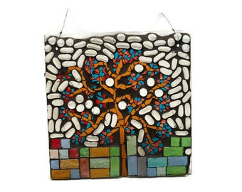 Glass Mosaic Tree of Life, Nursery Decor,  Window Panel, Stained Glass, Tree, Home Decor, Stained Glass Art, Window Art, Sun Catcher