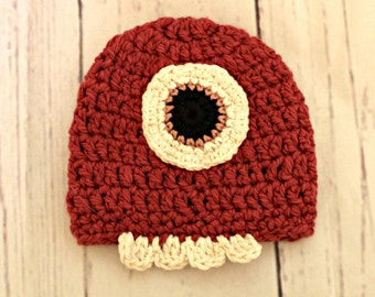 Pink Monster baby  Hat - 3-6 month size - organic cotton crochet hat - READY TO SHIP baby gift - ooak