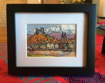 Medieval Castle and Village Tiny Painting