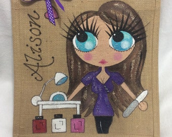 Handpainted Personalised Beautician Salon Jute Handbag Gift Bag Hen Party Celebrity Style