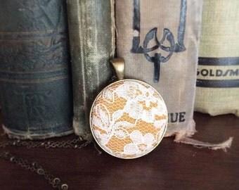 Mustard lace pendant necklace - bronze vintage lace necklace - yellow Bridesmaids necklace - mustard fabric pendant - cream lace pendant