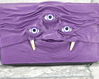 Woman's Wallet Clutch With Three Eye Monster Face Zippered Organizer Purple Black Leather Harry Potter