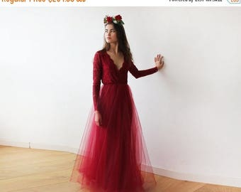 30% OFF - Blush Birthday Bordeaux tulle and lace long sleeves gown, Tulle and lace Bordeaux maxi dress 1125
