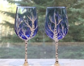 Hand Painted Birch Tree Wine Glasses Set of Two