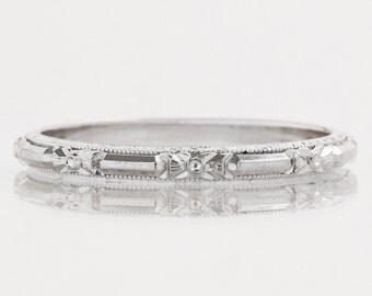 """Antique Wedding Band - Antique 18k White Gold """"E. Wood"""" Signed Wedding Band"""