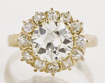 Antique Engagement Ring - Antique 3.01ctw Victorian 14k Yellow Gold Diamond Flower Cluster Ring