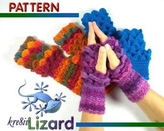 PATTERN Dragonscale Fancy Wrist Warmers ~ Crochet PATTERN - Design by kre8ivLizard - instant download