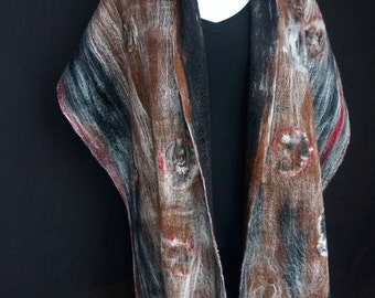 Cobweb Felted Shawl. Circles. Brown. Black. Fringed.