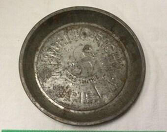 Vintage Tin Mello-Rich Mrs. Smith's Logo Pie Baking Dish Pan Plate