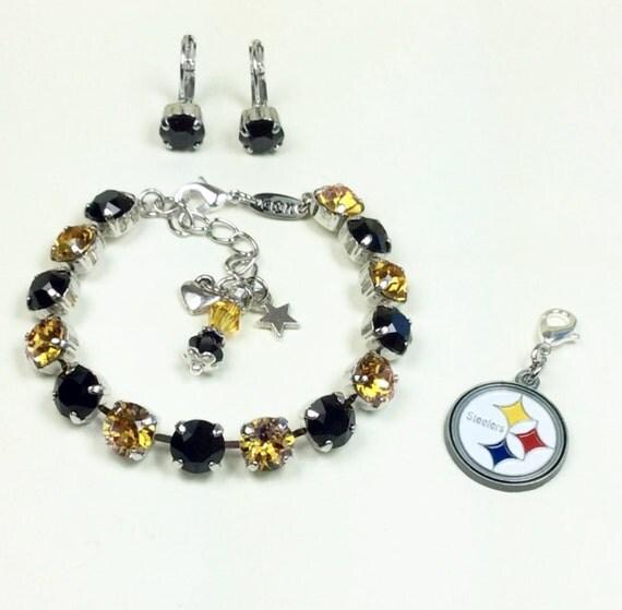 Swarovski Crystal 8.5mm Bracelet   Pittsburgh STEELERS -  Fan Bracelet!  Casual Elegance! -  Designer Inspired -  FREE SHIPPING