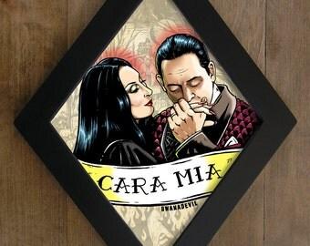 Gomez Addams and Morticia Addams diamond framed print. Cara Mia