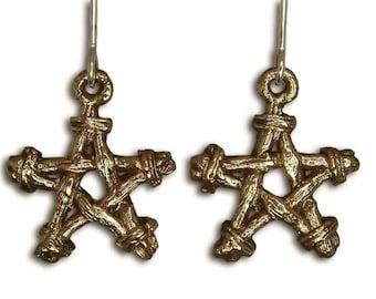 Bronze Pentagram Earrings, Wiccan Earrings, Woodland Jewelry, Sterling Silver Ear Wires