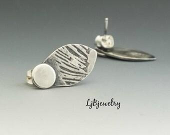 Silver Earrings, Stud Earrings, Handmade, Metalsmith, Metalwork, Artisan Jewelry, Art Jewelry, Sterling Silver