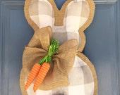 Biffalo Check Burlap Bunny Door Hanger