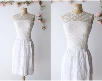 Vintage 1960's Crochet Lace Wiggle Dress - Sleeveless Summer Dress with Lace Illusion Neckline - Girly Girl Spring Dress - Size Small