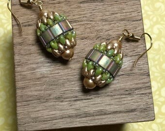 Green Beaded Dangles Beadwork Earrings Peyote Bead Earrings Gold Beaded Earrings Seed Bead Earrings Gold Beaded Dangles Beadwoven Earrings