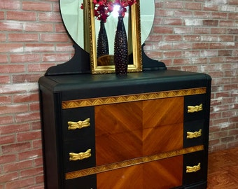 SOLD!  **  NLA!  **  SOLD!   Chalk Painted Dresser, Shabby Chalk Paints, Black Painte Dresser with Mirror, Waterfall Dresser with Mirror