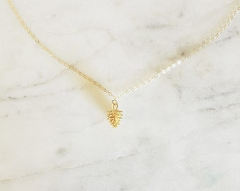 Dainty Pinecone Necklace // 14k Gold Filled