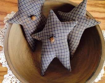 Set of 3 Primitive Blue Checked Homespun Star Bowl Fillers/Tucks