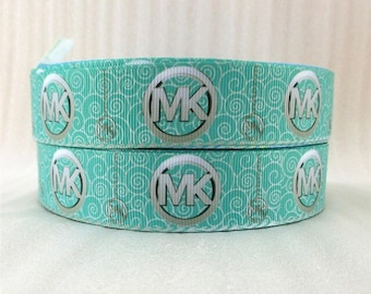"1"" Mk Michael Kors Grosgrain Ribbon Teal Aqua"