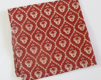 Pocket square in rust red and cream design  - coloured 100% cotton -